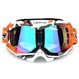 Polarized Sport Motorcycle Motocross Goggles ATV Racing Goggles Dirt Bike Tactical Riding Motorbike Goggle Glasses, Bendable Windproof Dustproof Scratch Resistant Protective Safety Glasses (Orange) (Color: Orange)