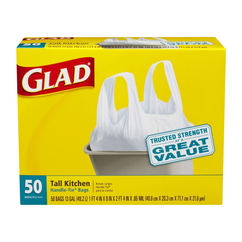 Glad Tall Kitchen Handle Tie Trash Bags White  Gallon