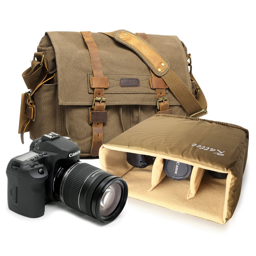 Kattee Men's Canvas Leather DSLR SLR Vintage Camera Messenger Bag 2