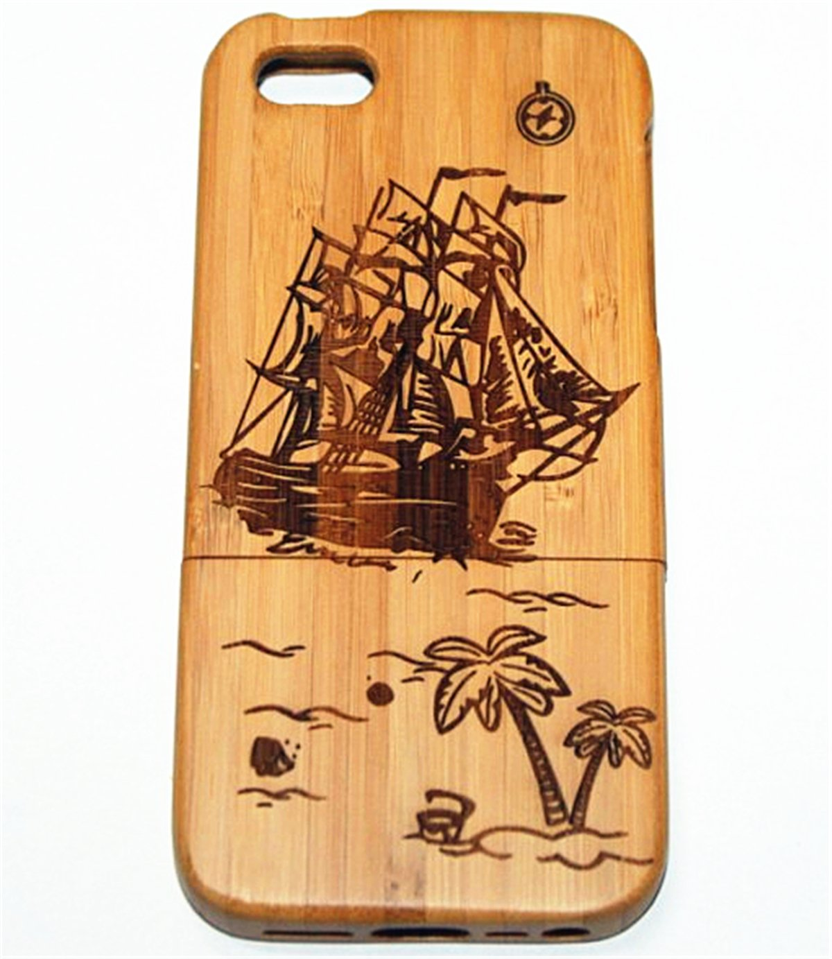 iPhone 4S Case, Firefish Wood Life Natural Handmade Carved Wooden Hard Case Cover Protective Shell For iPhone 4S ( With A Stylus) -Sailing