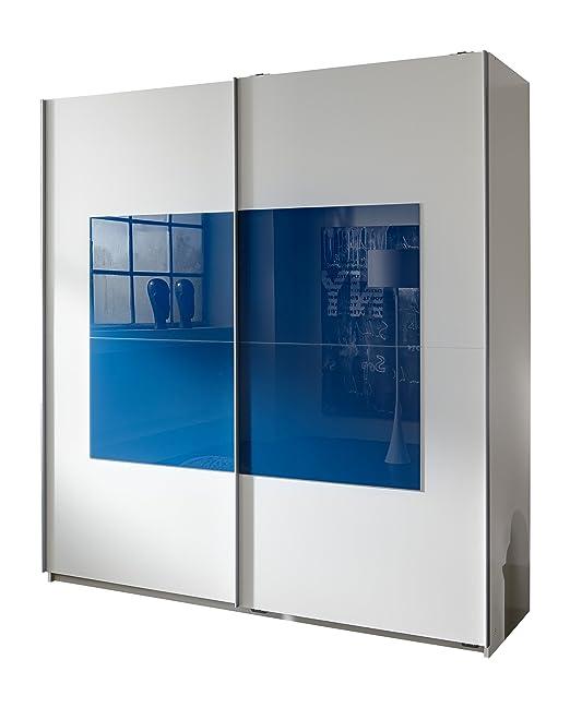 Wimex 236771 Schwebeturenschrank Santos 180 x 198 x 64 cm, Front und Korpus alpinweiß, Absetzungen Glas petrol