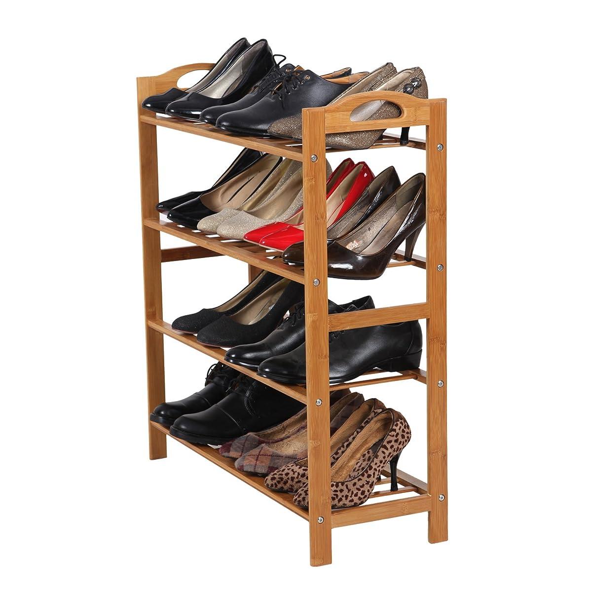SONGMICS Bamboo Shoe Rack 4-Tier Entryway Shoe Shelf Storage Organizer ULBS94N