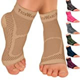 TechWare Pro Ankle Brace Compression Sleeve - Relieves Achilles Tendonitis, Joint Pain. Plantar Fasciitis Foot Sock with Arch Support Reduces Swelling & Heel Spur Pain. Injury Recovery for Sports (Color: Beige, Tamaño: XXL (Women 11.0 + / Men 10.0 -13.0))