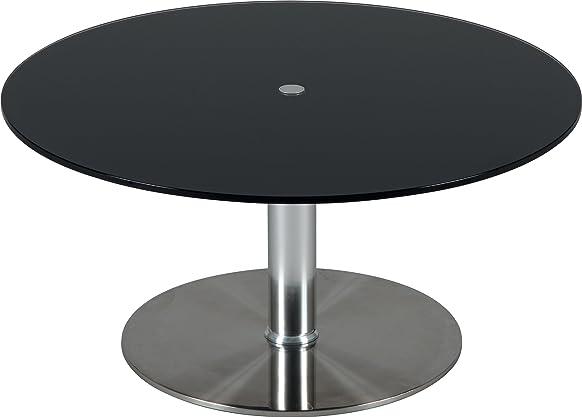 Tavolino rotondo Altezza Regolabile Vetro Nero