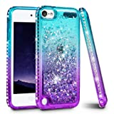 iPod Touch 5 6 7 Case, iPod Touch Case 5th 6th 7th Generation for Girls, Ruky Quicksand Series Glitter Flowing Liquid Floating Bling Diamond Flexible TPU Cute Case for iPod Touch 5 6 7 (Teal Purple) (Color: Teal)