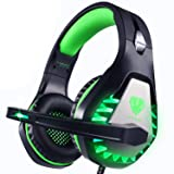 Pacrate Stereo Gaming Headset for PS4, Xbox One, PC with Noise Cancelling Mic - 7.1 Surround Sound Gaming Headphones - Soft Memory Over Ear PS4 Headset with LED Light for Mac, Laptop, Nintendo Switch (Color: Black Green)