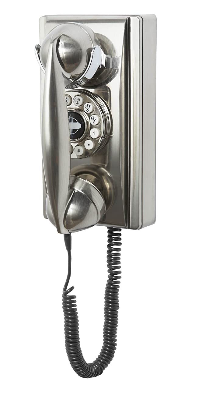Crosley CR55-BC Wall Phone with Push Button Technology, Brushed Chrome 0