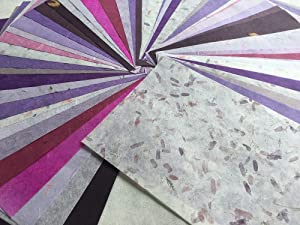 WADSUWAN SHOP 50 Sheets Mixed Purple A4 Mulberry Paper Sheet Design Craft Hand Made Art Tissue Japan Origami Washi Wholesale Bulk Sale Unryu Suppliers Thailand Products Card Making