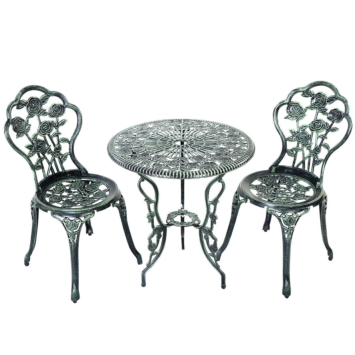 Giantex Patio Furniture Cast Aluminum Rose Design Bistro Set Antique Green (Green) 0