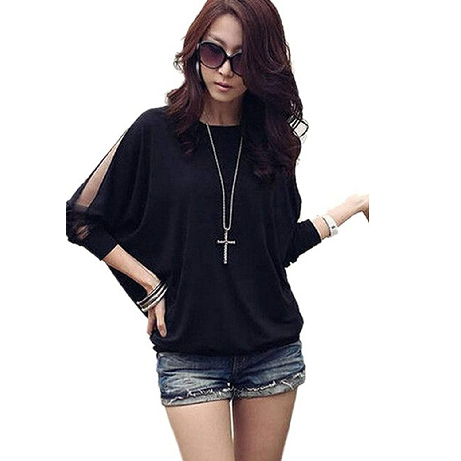 Eshion Women Long Sleeves Cut Out Shoulders Loose Design Tunic Top Blouse Pullover stylish scoop neck long sleeves cut out bowknot lace up women s pullover sweater