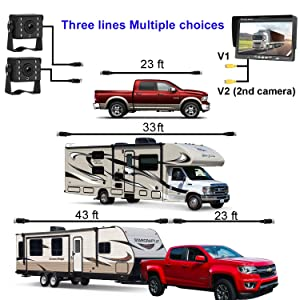 HD 720P Dual Backup Cameras and 7 Monitor System Kit for Bus/Trucks/Trailer/RVs/Campers Night Vision IP68 Waterpoof with ON/Off Switch Guide Lines Normal/Mirrored Pictures Optional (Tamaño: 7'dbYTE)