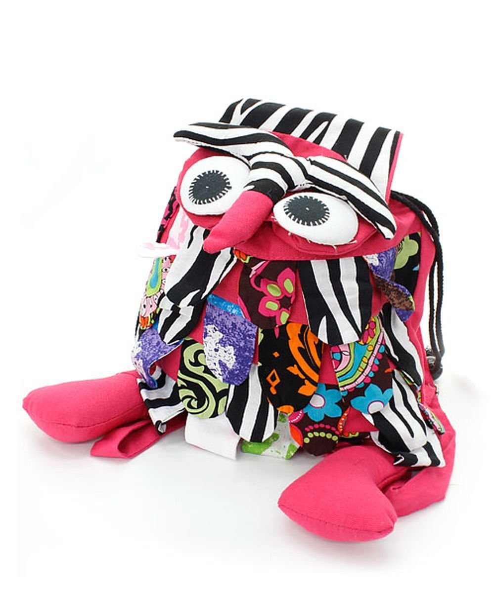 Zebra Hot Pink Owl Backpack Book Bag