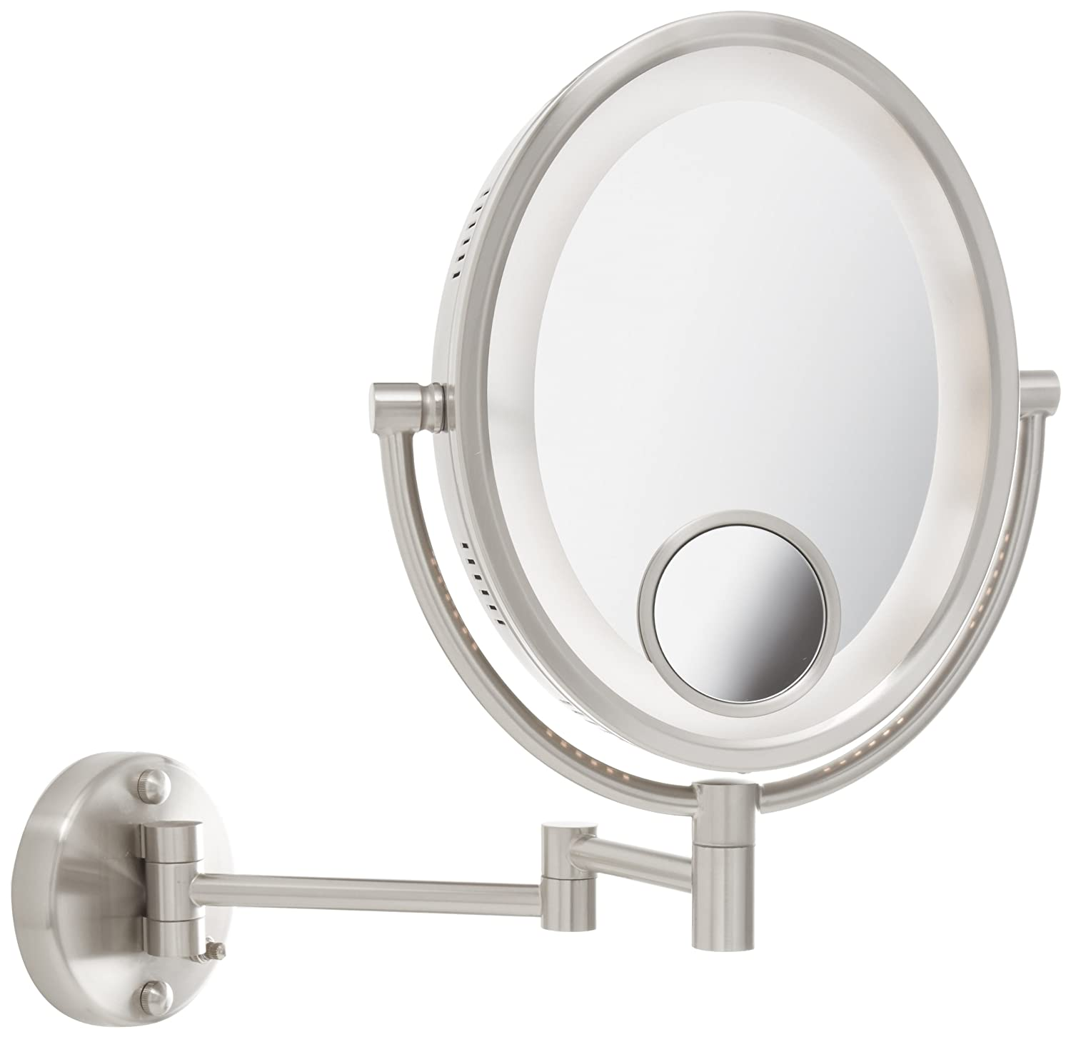 inch lighted wall mount oval makeup mirror with 10x and 15x mag ebay. Black Bedroom Furniture Sets. Home Design Ideas