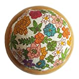 GAMESPFF Round Pin Cushion with Wooden Base and Printed Floral Fabric Coated for Daily Needlework (Multicolor) (Color: Multicolor)