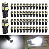Boodled 50-Pack 194 White LED Black Body Light 12V,120LM 6000k Car Interior and Exterior T10 5SMD 5050 Chips Replacement For W5W 168 2825 Map Dome Courtesy License Plate Dashboard Side Marker Light (Color: SUPER WHITE / XENON WHITE / 6000K~6500K WHITE, Tamaño: T10 W5W 194 168 147 192 158 2825)