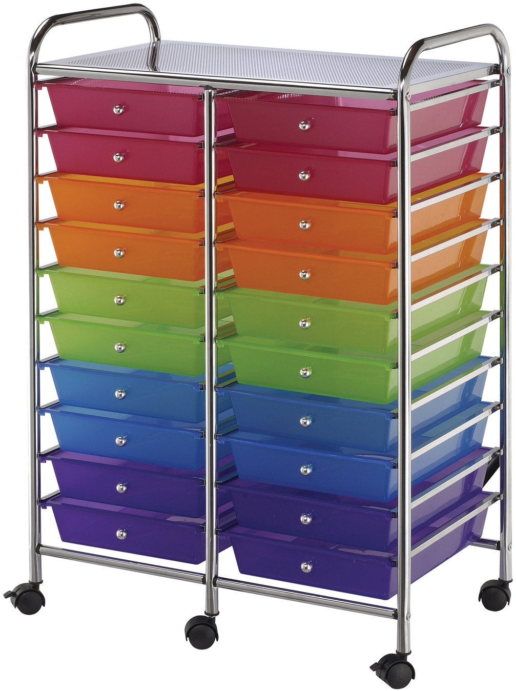 Pennylane Home Double Storage Cart with 20 Drawers, Multi-Color