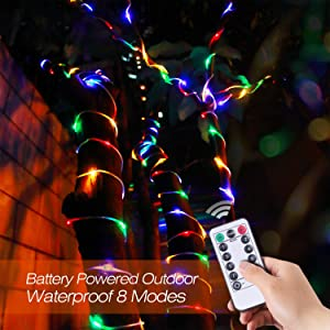 zerproc LED String Lights, 100 LED Rope Lights, Battery Operated 33ft 8 Mode Fairy Lights with IR Remote Timer for Easter, Garden, Patio and Indoor De