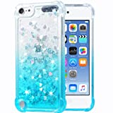 Flocute iPod Touch 5 6 7 Case, iPod Touch 5 6 7 Glitter Case Gradient Bling Sparkle Floating Liquid Soft TPU Cushion Luxury Fashion Girls Women Cute Case for iPod Touch 5th 6th 7th (Gradient Teal) (Color: Gradient Teal)