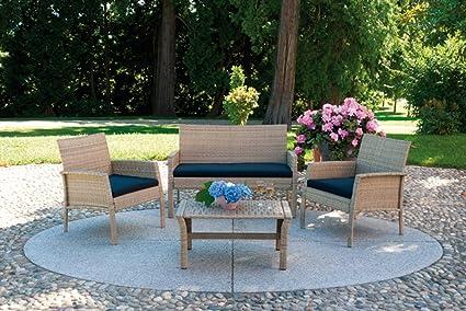 Salon jardin de canapé + 2 fauteuils + 1 table couleur paille -PEGANE-