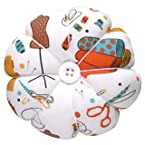 eZAKKA Wrist Pin Cushion Polka Pumpkin Wrist Band Pin Cushions Wearable Needle Pincushions for Sewing (Sewing Necessities Pattern White) (Color: Sewing Necessities Pattern White)