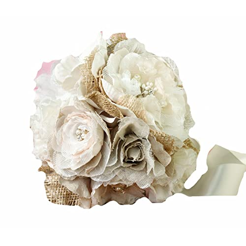 Lillian Rose Burlap and Flower Bouquet 7.5-Inch