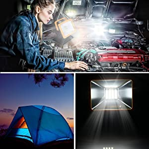 OYOCO Rechargeable LED Work Light with Magnetic Base 15W 6.5H Lighting Battery Powered Waterproof Spotlights Outdoor Camping Emergency Lights Floodlights with SOS Mode ( Yellow with magnetic base) (Color: Yellow With Magnetic Base, Tamaño: LitYellow with magnetic)