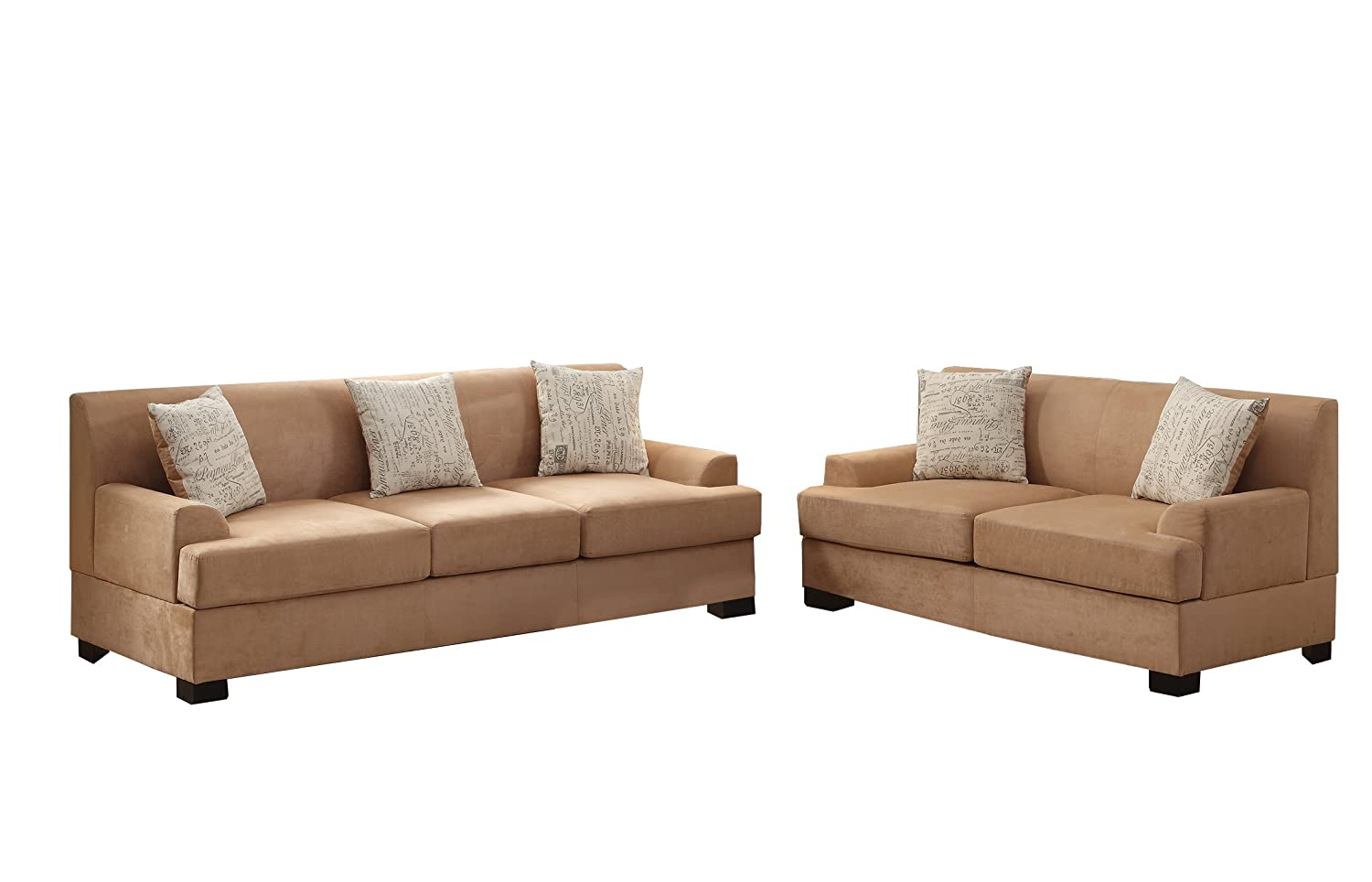 Poundex Bobkona Barrie Microsuede 2 Piece Sofa and Loveseat Set - Tan