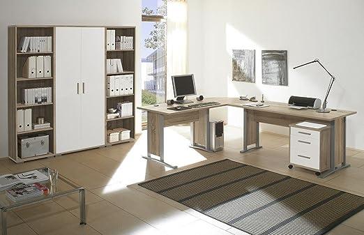 Arbeitszimmer Möbel komplett Set Buro Buromöbel Office Line in Eiche Sonoma / Weiss Glanz 7-teilig