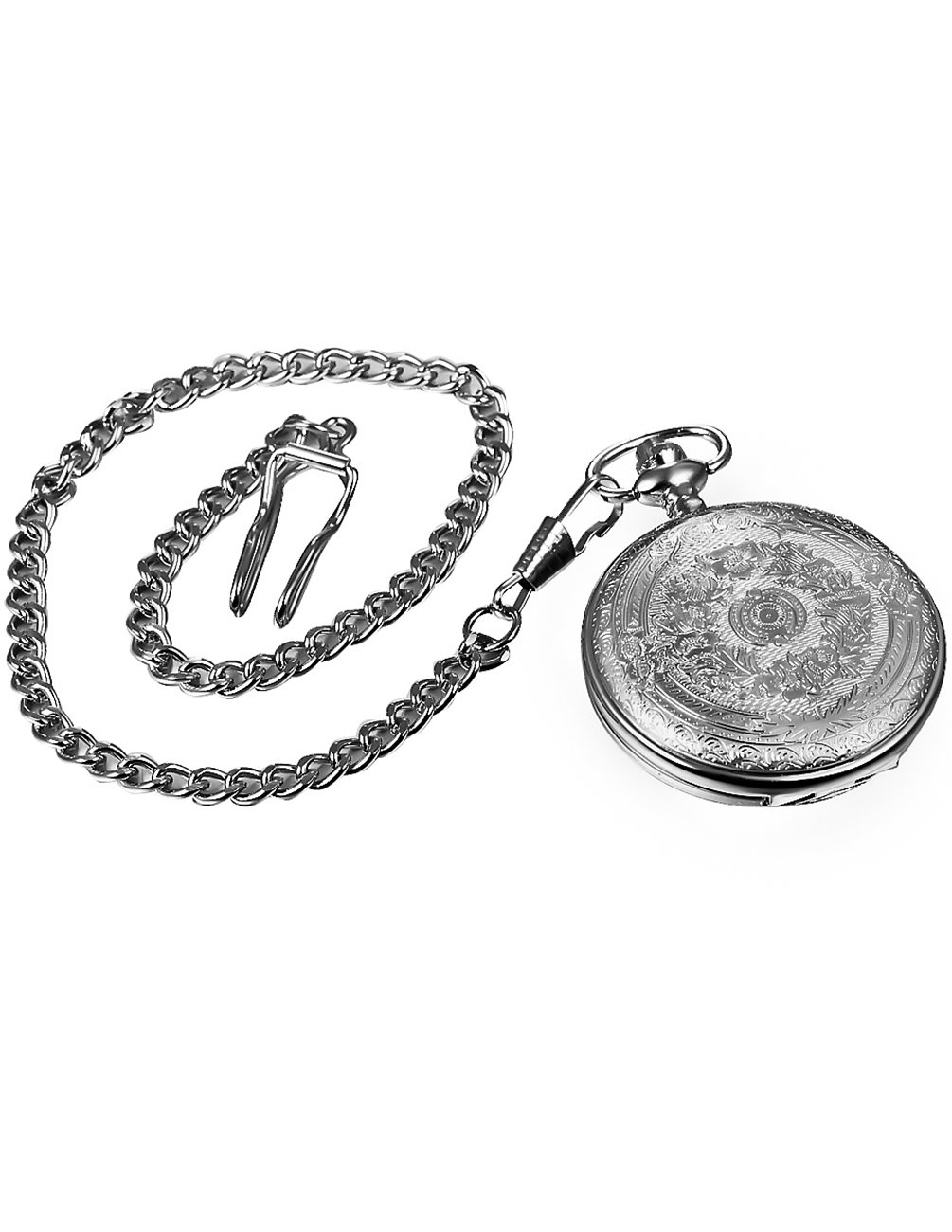 Mudder Vintage Silver Stainless Steel Quartz Pocket Watch Chain 5