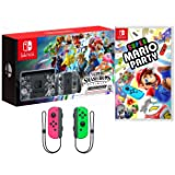 Nintendo Switch Super Smash Bros Party Bundle: Switch Limited Edition Super Smash Bros. 32GB Gaming Console (Full Game Download), Super Mario Party and Extra Neon Pink and Green Joy-Con