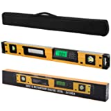24-Inch Digital Torpedo Level and Protractor | Neodymium Magnets | Bright LCD Display | IP54 Dust/Water Resistant smart level with Carrying Bag (Color: Yellow, Tamaño: Large)