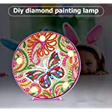 Diamond Painting Butterfly with LED Light DIY Special Shaped Full Drill Crystal Diamond Drawing Bedside Lamp for Home Decoration or Christmas Gifts-6x6in (1-Butterfly) (Color: Butterfly-A)