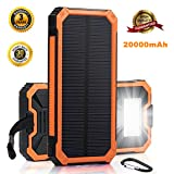 Portable Solar Charger Solar Cell Phone Charger Solar Power Bank 20000mAh Solar Charger Waterproof w/Bright Flashlight Dual USB Solar Phone Charger So