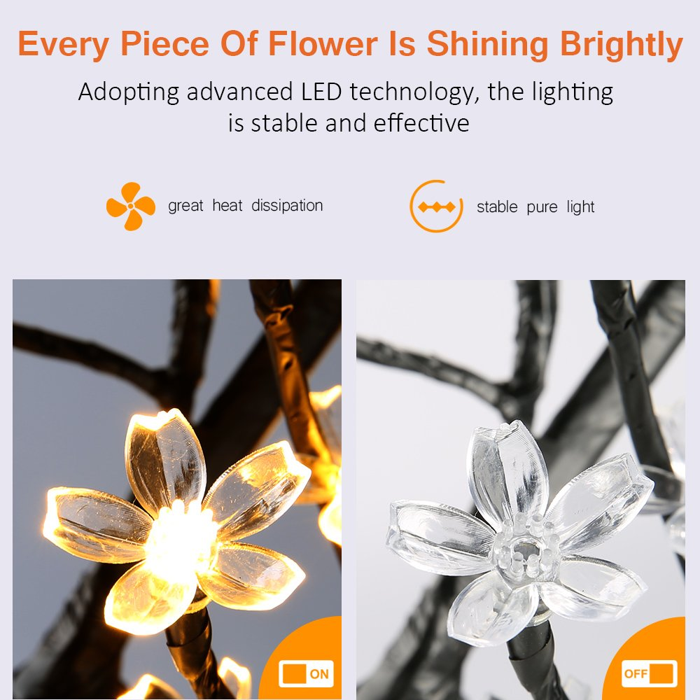 Zanflare 1.5M/5FT 180 LEDs Cherry Blossom Tree Light Warm White Light Black Branches for Home Festival Party Wedding Christmas Indoor Outdoor Decoration