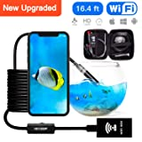 Upgraded WiFi Endoscope Snake Camera Semi-Rigid 1200P HD IP68 Waterproof WiFi Endoscope with 8 Adjustable LED for Android iOS Mac Windows by Austone (Black 16.4FT) (Color: black, Tamaño: 16.4FT (5M))
