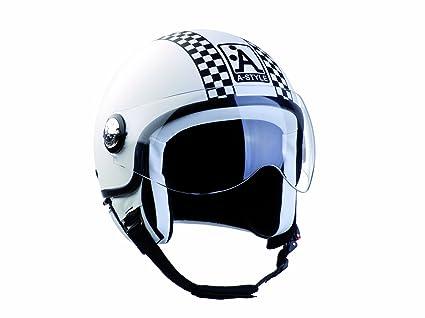 A style 0600460-m casque jet blanc/damier/noir/mat
