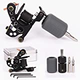 Tattoo Coil Machine 10 Wraps Coils Black Tattoo Machine Selflock Tattoo Grip 25mm Silicone Grips Cover 28mm Tattooing Tips 5F 5R Tattoo Kit for Liner Shader 2 Styles (Shader Kit) (Color: Silver,Black,Blue,Red, Tamaño: Shader Kit)