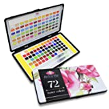 72 Watercolor Paint Set with 2 Water Brushes and 72 Vibrant Color Cakes in Tin Box. Includes Skin Tone, Metallic (Gold and Silver) and Pastel Colors - Perfect Gift for Artist (Tamaño: 72)