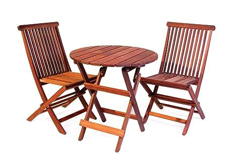 Bistro Gartenmöbel Set (runder Tisch 70 cm + 2 Stuhle), aus exklusivem Mahagoni Hartholz, klappbar
