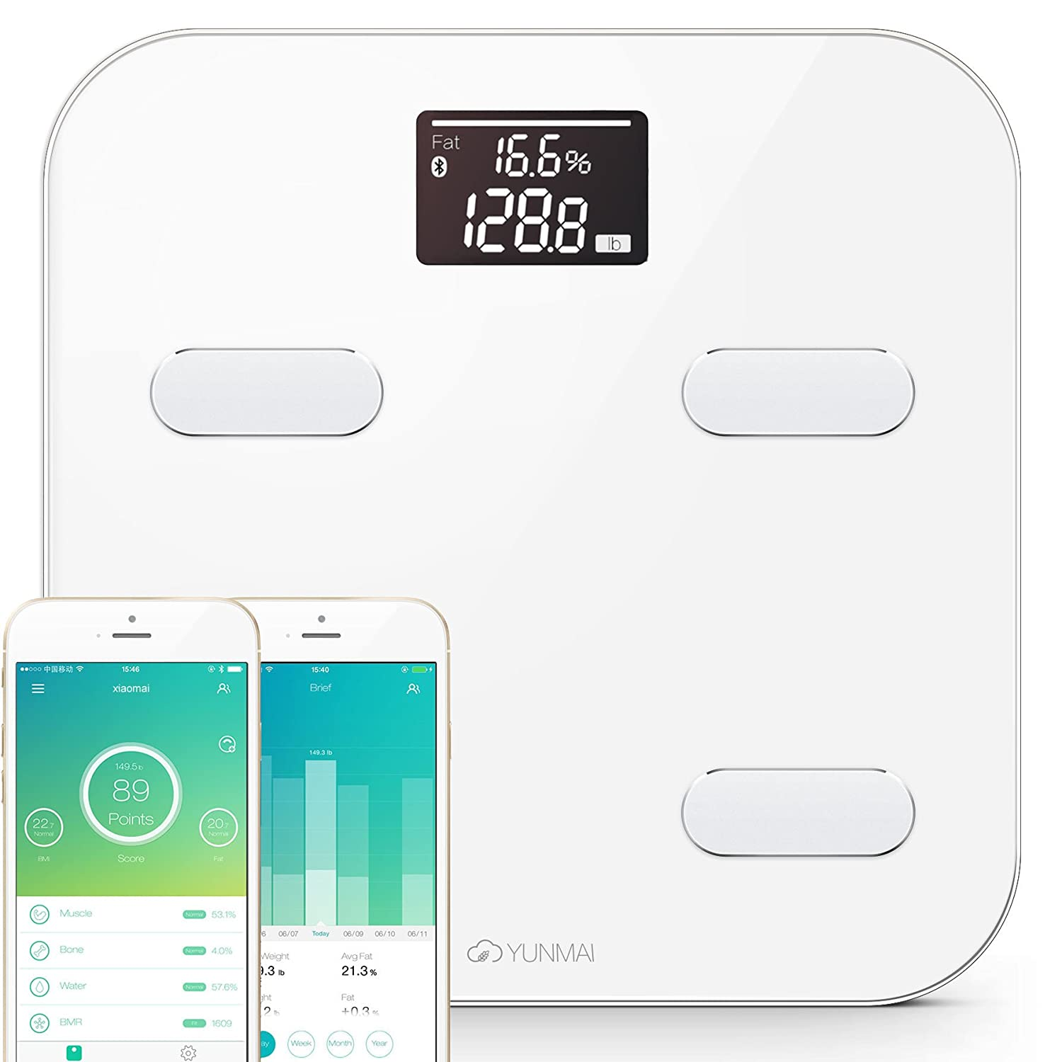 Yunmai Precision Bluetooth Smart body scale, 8 Body statistics measurement, 16 user recognition and bluetooth 4.0 fast automatic connection technology with FREE smartphone APP