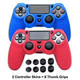 PS4 Controller Covers - PS4 Silicone Skins for DualShock 4 - PS4 Accessories Anti-Slip Cover Case for Sony Playstation 4, Slim, Pro - 2 Pack PS4 Controller Skins - 4 Pairs PS4 Grips - Red & Blue (Color: Red+Blue)