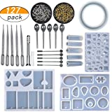 LAMPTOP Resin Casting Molds and Tools Set, Jewelry Molds Include 127Pcs Assorted Styles Silicone Molds, Stirrers, Droppers, Spoons, Hand Twist Drill and Screw Eye Pins for Pendant Jewelry Making (Color: 127pcs Kits)