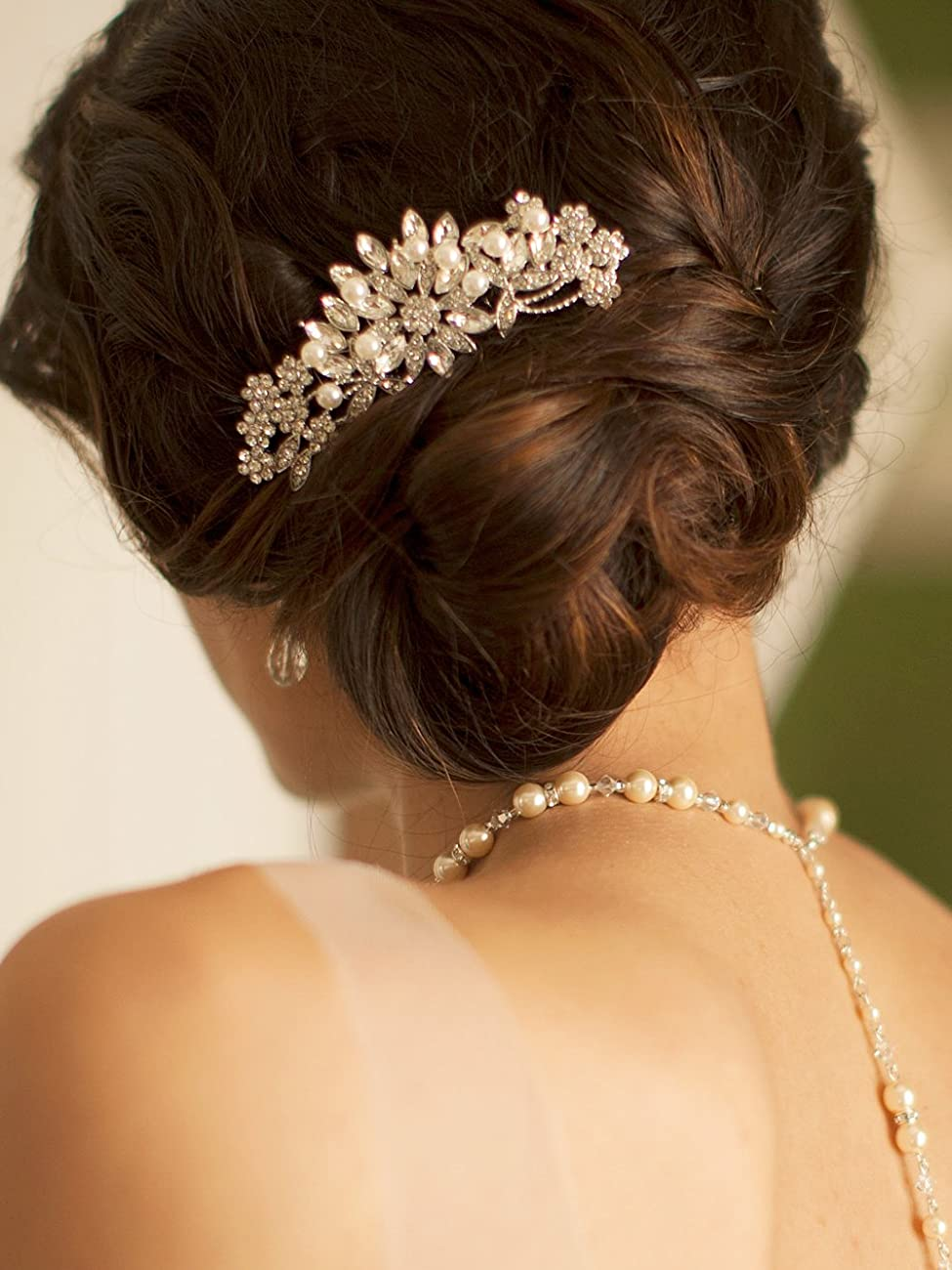 Mariell Vintage Pearl and Mixed Crystal Sunburst Wedding, Bridal or Prom Hair Comb - Retro Glam 3