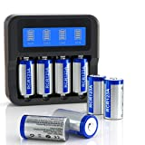 _CR123A Rechargeable Batteries and Charger Bundle, 4 Slots LCD Display Charger with 8 Pack 3.7V 700mAh Rechargeable Batteries for Arlo Cameras (VMC3030/VMK3200/VMS3330/3430/3530) and More Devices