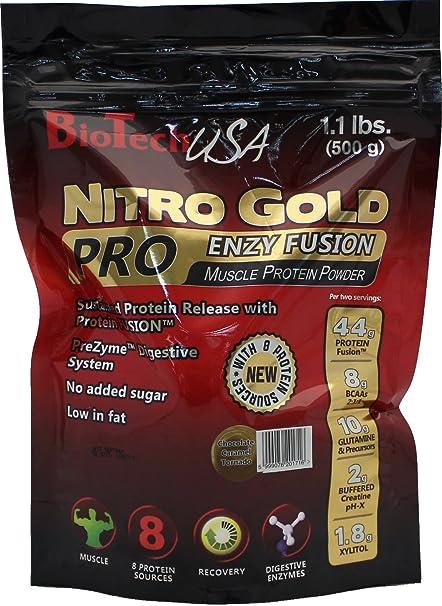 BioTech USA Nitro Gold ProEnzy Fusion  Chocolate Caramel, 1er Pack (1 x 500 g)