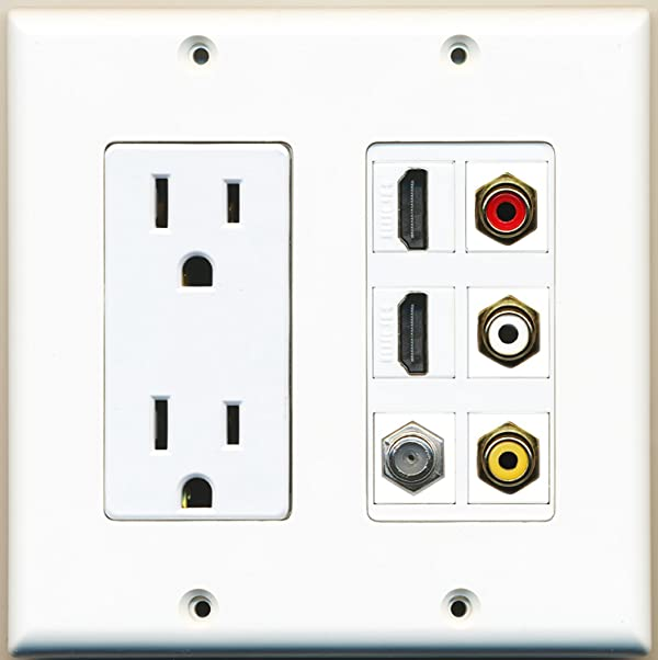 RiteAV - 2 x 15 Amp 125V Power Outlet 3 x RCA - 2 X HDMI and 1 x Coax Cable TV Port Wall Plate White (Color: White)