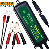 Mroinge MBC055 6V/12V 5.5A Smart Vehicle Battery Charger Maintainer for Cars Motorcycles RVs TVs Boat for Normal Lead Acid GEL AGM SEALED WET or 12V-Lithium(LiFePO4) Batteries, With IP65 Waterproof (Tamaño: 5.5A 12V&6V)