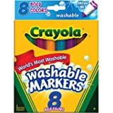 Crayola Broad Point Washable Markers, Bold Colors 8 Count ( Case of 24 ),Total 192 (Tamaño: Pack of 24)