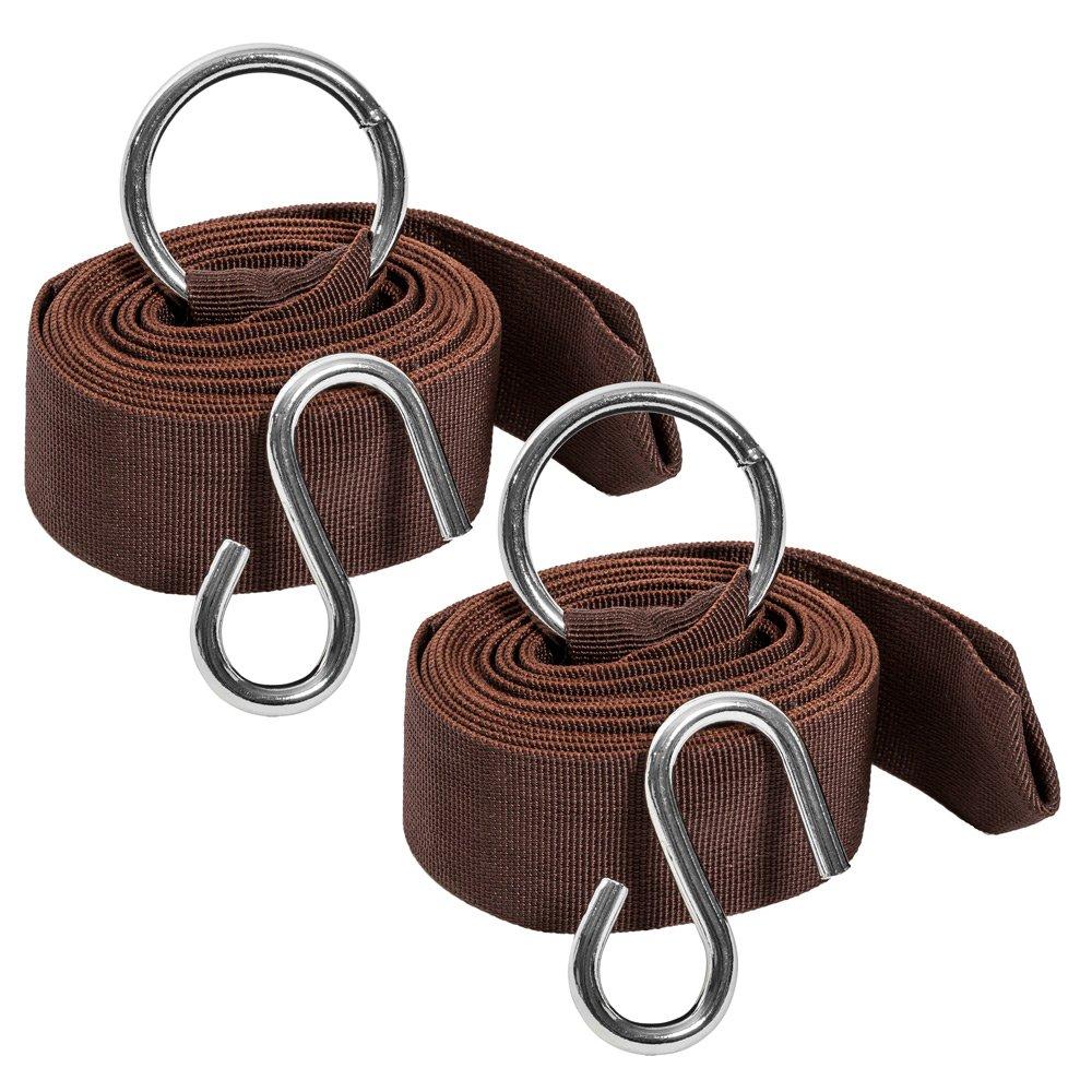 TecTake Aufhängeset für Hängematten – Gesamtlänge 640 cm – Belastbarkeit bis 200 kg – Komplettset – braun – günstig bestellen