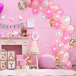 Tatuo 112 Pieces Balloon Garland Kit Balloon Arch Garland for Wedding Birthday Party Decorations (White Pink Gold) (Color: White Pink Gold)